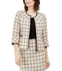 karl lagerfeld paris tweed zip-front jacket