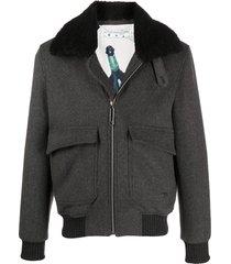 off-white zip-front aviator jacket - grey