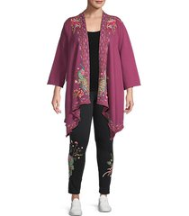 plus kaira embroidered cotton cardigan