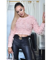 ctw poppy knitted tassle jumper top roze