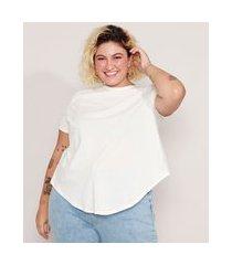 camiseta de algodão plus size básica com nó manga curta decote redondo branca