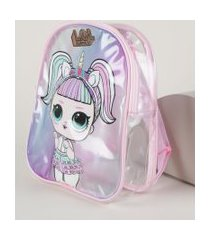 mochila infantil lol surprise unicórnio transparente multicor
