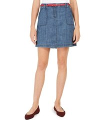 karen scott petite belted chambray skort, created for macy's