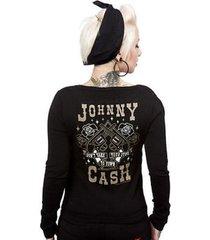 sourpuss johnny cash guns tattoo retro 50s punk pinup cardigan sweater s-xxl
