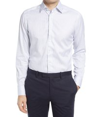 men's suitsupply traveler classic fit stripe dress shirt, size 16.5r - white