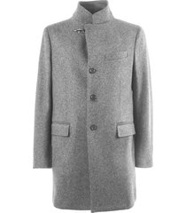 fay grey wool button-up coat