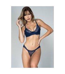 conjunto feminino lingerie serra e mar modas com renda e aro azul marinho