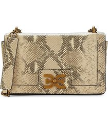 sam edelman women's mini dottie snakeskin-print leather crossbody bag - toasted almond