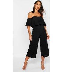 off the shoulder ruffle culotte jumpsuit, black