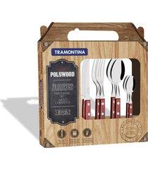 faqueiro tramontina polywood com lâminas em aço inox e cabos de madeira vermelho 24 peças 21199705