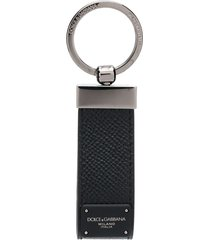 dolce & gabbana logo plaque key chain - black