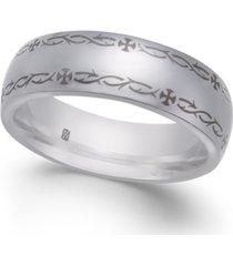men's border design cobalt ring