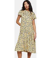 petite yellow daisy print grandad shirt dress - yellow