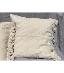 lniana poszewka na poduszkę z falbanką beige