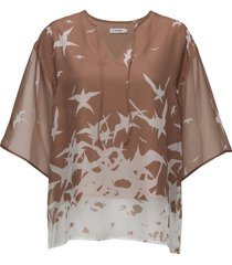 ilina placement print blouses short-sleeved rosa j. lindeberg