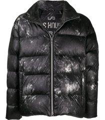 moose knuckles carbon-print puffer coat - black