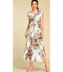 yoins corbata blanca diseño manga corta con cuello en v y estampado floral vestido