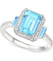 blue topaz (2-3/4 ct. t.w.) & diamond (1/6 ct. t.w.) ring in sterling silver