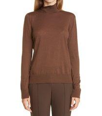 women's lafayette 148 new york split mock neck wool sweater, size medium - brown
