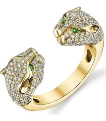 18k yellow gold double-head diamond panther ring