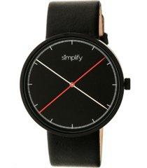 simplify quartz the 4100 black case, genuine black leather watch 43mm