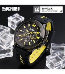 reloj de cuarzo de esfera grande para hombres a-amarillo