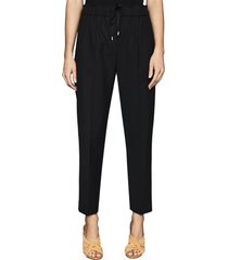 women's reiss drawstring waist wool blend pants, size 0 us - black