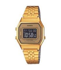 relógio digital casio feminino - la680wga9bdf dourado