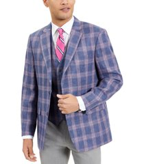 tommy hilfiger men's modern-fit th flex stretch blue/red windowpane plaid sport coat