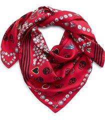 women's alexander mcqueen jewel & button print silk scarf, size one size - pink