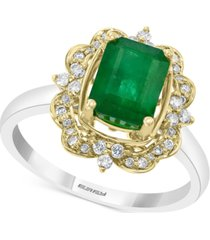 effy emerald (1-1/4 ct. t.w.) & diamond (1/5 ct. t.w.) ring in 14k gold & white gold