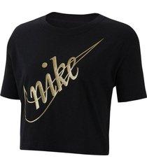 camiseta de mujer lifestyle nike w nsw tee crop glitter 2