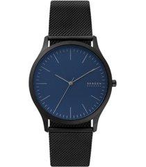 skagen men's jorn black stainless steel mesh bracelet watch 41mm
