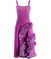 molly goddard polka dot flamenco-styled dress - purple