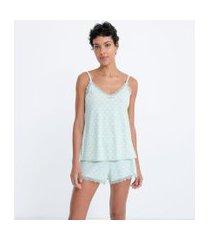 pijama short doll em microfibra com blusa de alcinha e short estampa poá | lov | verde | p