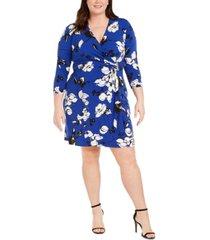 calvin klein plus size floral-print faux-wrap dress