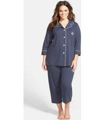plus size women's lauren ralph lauren knit crop pajamas, size 1x - blue
