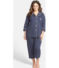 plus size women's lauren ralph lauren knit crop pajamas, size 1x - blue (plus size) (online only)