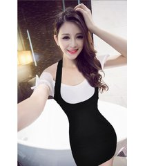 pf261 sexy sweet off-shoulder 2 in 1 dress, size s-xl, white/black