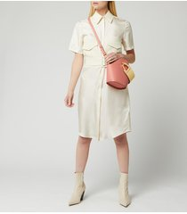 victoria, victoria beckham women's patch pocket shirt dress - ecru - uk 12