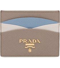 prada colour block saffiano card holder - grey