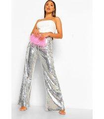 glanzende wide leg broek met pailletten, silver