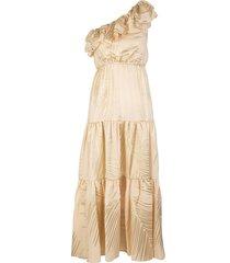 beige one shoulder midi dress with golden print