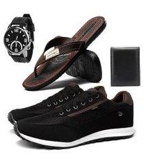 sapatênis casual esporte fino conforto rebento preto com chinelo danper relógio e carteira