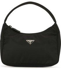 prada pre-owned triangle plaque tote bag - black