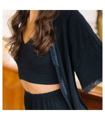 kimono/robe modal + karícia íntima + preto