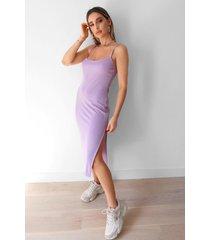womens square's no going back slit midi dress - lilac