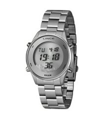 relógio digital lince feminino - sdm4638l prateado