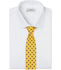 cravatta su misura, lanieri, twill microdesign giallo, quattro stagioni | lanieri