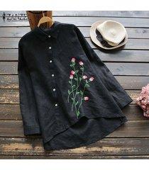 zanzea mujeres bordado camisa gira el collar abajo remata la blusa alto bajo asim más el tamaño -negro